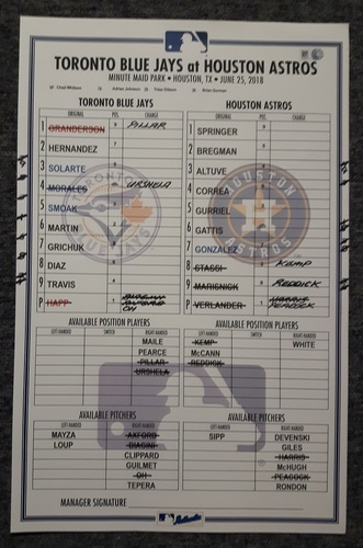 Photo of Authenticated Game Used Line Up Card - June 25, 2018 vs Houston Astros: 2 Home Run Game by Curtis Granderson and Randal Grichuk had a Home Run Saving Catch