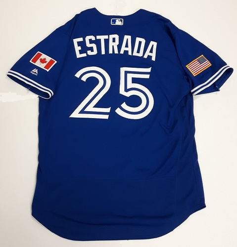 Photo of Authenticated Game Used 2018 Independence Day Jersey (July 4, 2018) - #25 Marco Estrada. Size 46.