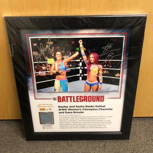 Photo of Sasha Banks & Bayley SIGNED Battleground 2016 Signature Series Ring Canvas Plaque (#1 of 5)