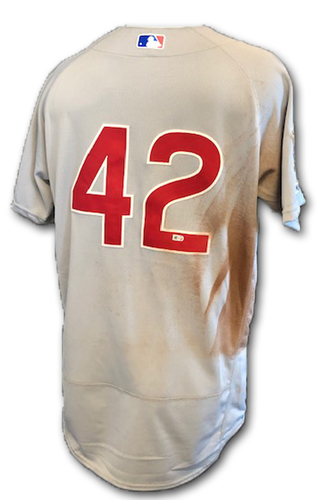 Photo of Albert Almora Game-Used Jackie Robinson Day Jersey -- Size 42 -- Cubs at Marlins -- 4/15/19
