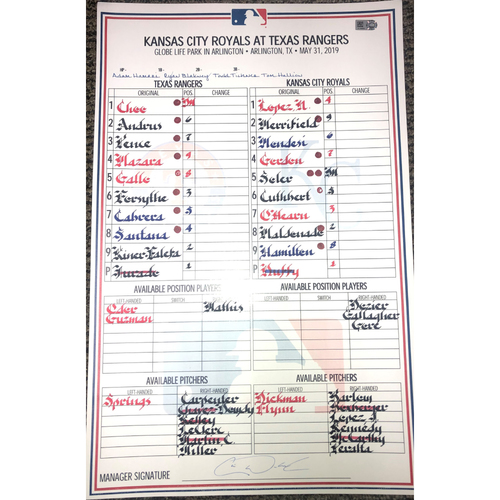 Game-Used Lineup Card - 5/31/19 v KC - Joey Gallo Hits First Grand Slam