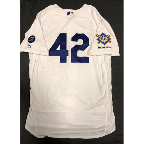 Photo of 2019 Game Used Home #42 Jersey worn by #76 Pitcher Josh Sborz on 4/15 Jackie Robinson Day against Cin. Dodgers 4-3 victory against Cincinnati.  Size-46