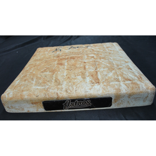 Photo of Game-Used and Autographed Base - Signed by Greg Maddux - Chicago Cubs at Houston Astros - 10/11/2005