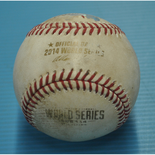 Photo of Game-Used Baseball - 2014 World Series - Kansas City Royals vs. San Francisco Giants - Batter - Buster Posey, Pitcher - Kelvin Herrera - Top 7 - Foul Ball - Game 2 - 10/22/2014