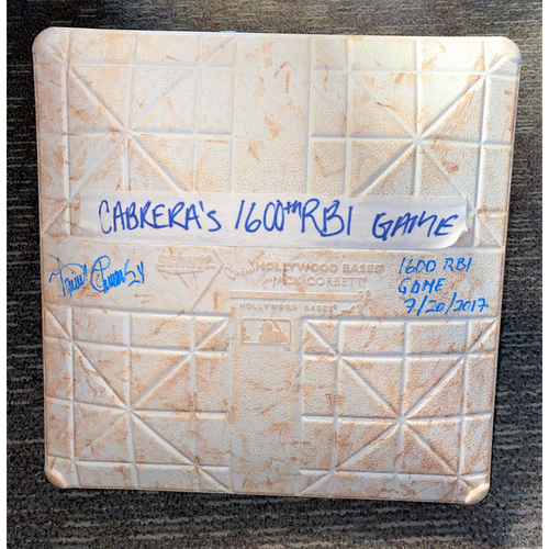 Photo of Miguel Cabrera Autographed 1,600th RBI Game-Used Kauffman Stadium Base (MLB AUTHENTICATED)