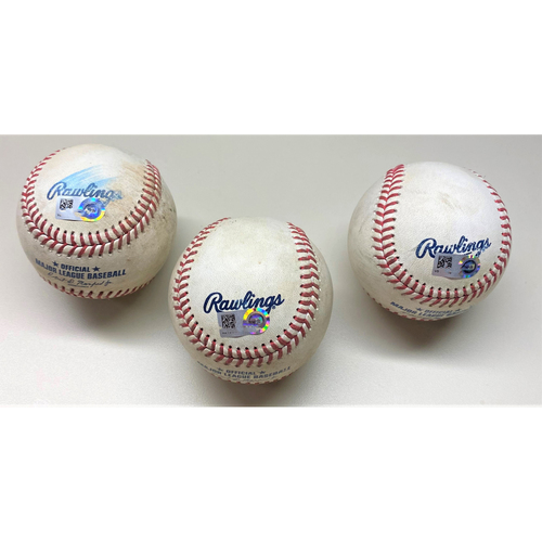 Photo of Detroit Tigers Game-Used Baseball Hit Collection: Willi Castro Single, Niko Goodrum Single, and Robbie Grossman RBI Single (MLB AUTHENTICATED)