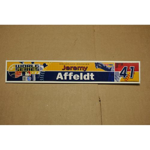 Photo of Game-Used Locker Name Plate - 2007 World Series Game 2 - Colorado Rockies vs. Boston Red Sox - Jeremy Affeldt (Colorado Rockies)