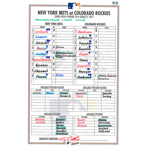 Game Used Lineup Card - Flexen Start; Amed Rosario Collects 1st Career RBI, Hits 1st Career Triple; Mets Win 10-5 - Mets vs. Rockies - 8/2/17