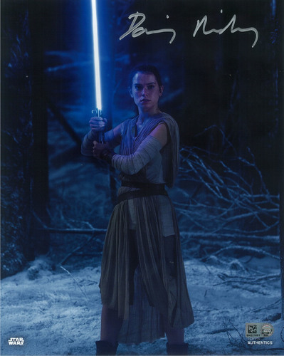 Daisy Ridley as Rey 8x10 Autographed in Silver Ink Photo