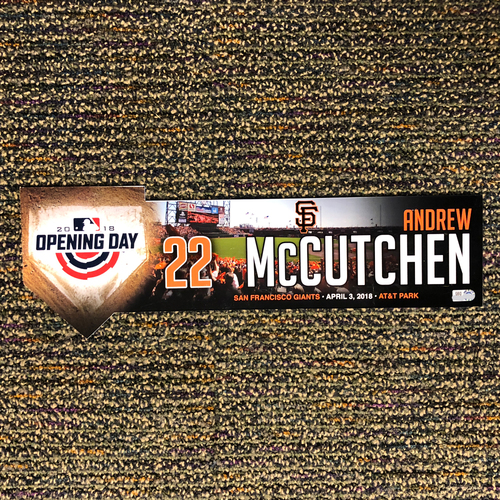 Photo of San Francisco Giants - 2018 Home Opening Day Locker Tag - #22 Andrew McCutchen