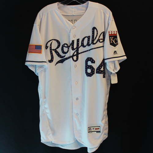 Photo of Game-Used Stars and Stripes Jersey: Burch Smith (Size 48 - CLE @ KC - 7/04/18)