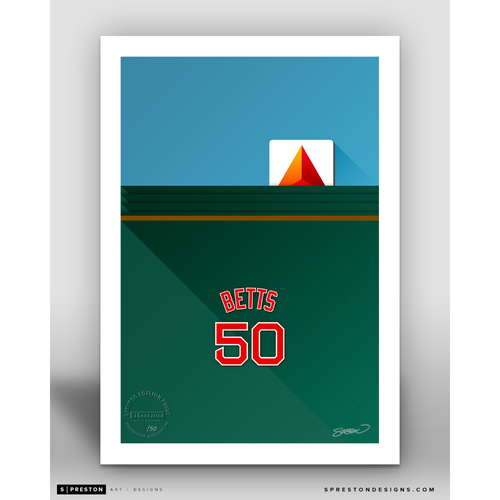 Photo of Minimalist Fenway Park Mookie Betts Player Series Art Print by S. Preston - Limited Edition