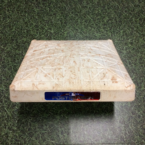 Photo of Game-Used 2nd Base LAD@MIL NLCS Game 1 (10/12/18), Game 2 (10/13/18), Game 6 (10/19/18) & Game 7 (10/20/18) - Innings 1-3 Each Game - Brandon Woodruff HR in Game 1, Aguilar/Moustakas/Braun RBI Doubles in Game 6 & Yelich HR in Game 7