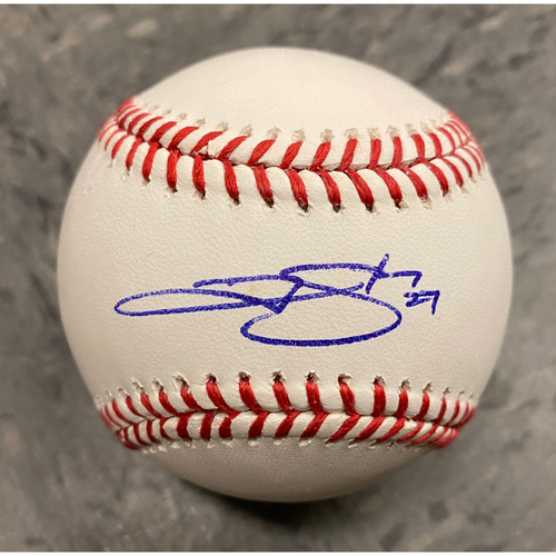 Buster Posey BP28 Foundation - Autographed Baseball signed by Colorado Rockies Shortstop #27 Trevor Story