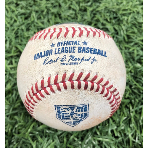 20th Anniversary Game Used Baseball: Jake Bauers walk, Tommy Pham lineout & Michael Perez single off Nick Tropeano - August 1, 2018 v LAA