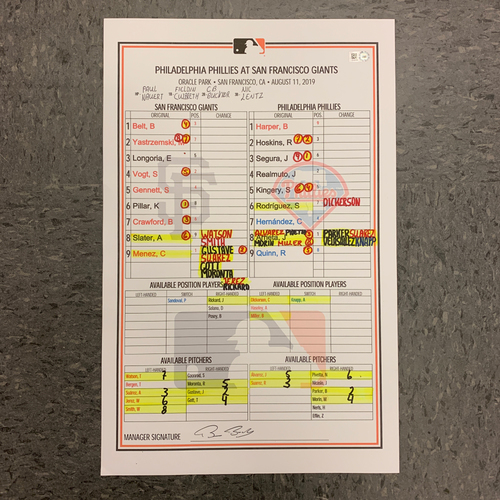 Photo of 2019 Game Used Lineup Card - 8/11 vs. Philadelphia Phillies - Giants win 9-6 - Will Smith Gets His First Career Hit & RBI's