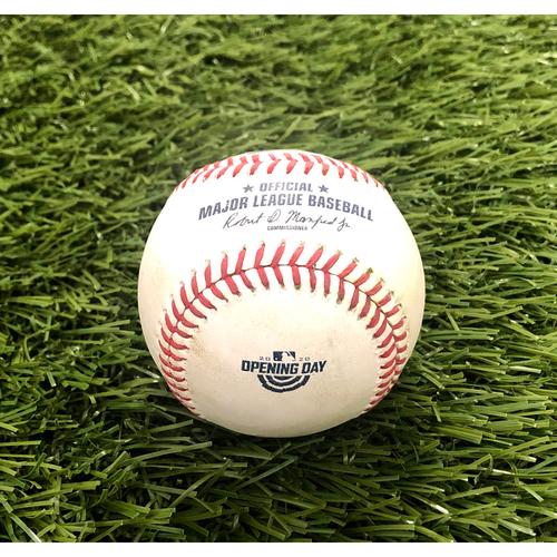 Photo of 2020 Opening Day: Game-Used Baseball: Gleyber Torres Walk, Giancarlo Stanton RBI Single
