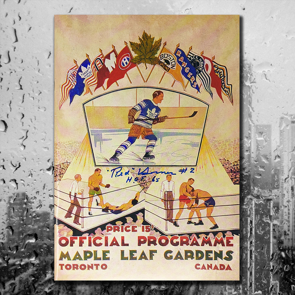 Red Horner 1933 MAPLE LEAF GARDENS Replica First Issue Signed Program
