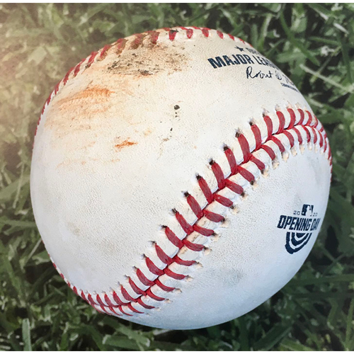 Photo of Game-Used Home Opener Baseball CHW@MIL 08/03/20 - Corbin Burnes - Luis Robert: Strike