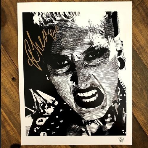 Photo of Rhea Ripley SIGNED Rob Schamberger 11 x 14 Art Print (Noir)