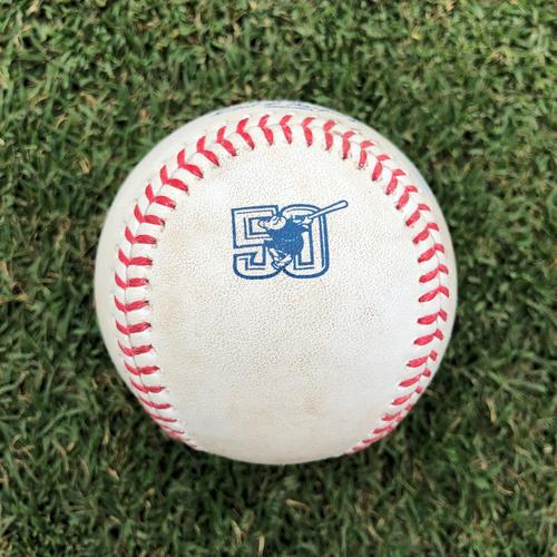 Photo of Game-Used Baseball: 2019 Season 50th Anniversary Logo Game-Used Baseball