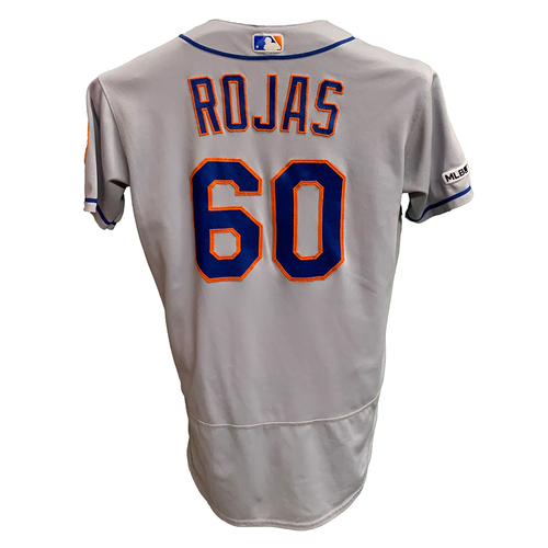 Photo of Luis Rojas #60 - Game Used Road Grey Jersey - Mets vs. Reds - 9/20/19