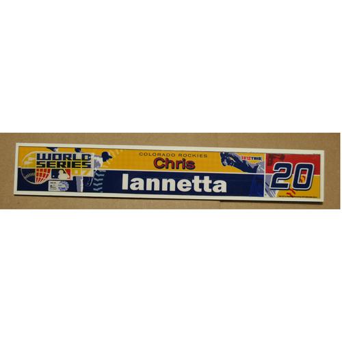 Photo of Game-Used Locker Name Plate - 2007 World Series Game 2 - Colorado Rockies vs. Boston Red Sox - Chris Iannetta (Colorado Rockies)