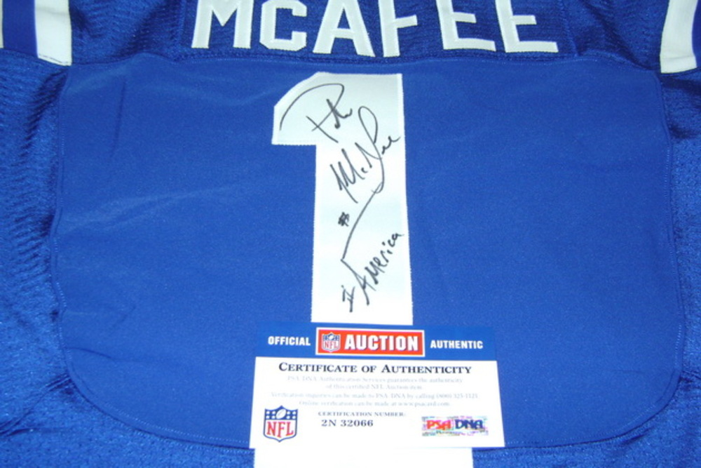 best deals on 4e657 e6709 NFL Auction | BCA - COLTS PAT MCAFEE GAME WORN AND SIGNED ...