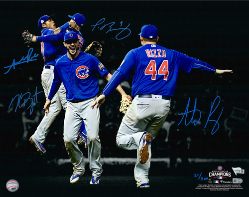 "Photo of Kris Bryant, Anthony Rizzo, Javier Baez and Addison Russell Chicago Cubs 2016 MLB World Series Champions Autographed 16"" x 20"" Photograph - #500 of a L.E. of 500"