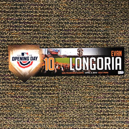 Photo of San Francisco Giants - 2018 Home Opening Day Locker Tag - #10 Evan Longoria