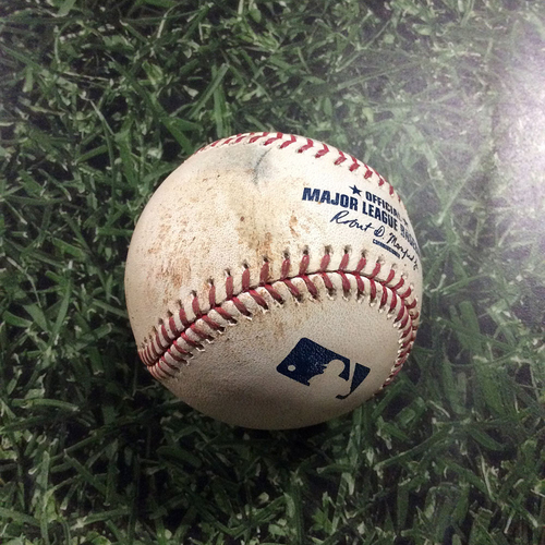 Photo of Game-Used Baseball BOS@MIL  05/11/17 - Jimmy Nelson - Mookie Betts: Double