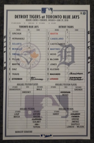 Photo of Authenticated Game Used Line Up Card - June 29, 2018 vs Detroit Tigers: Marcus Stroman's 1st Win of the Season and 500th Career Strikeout