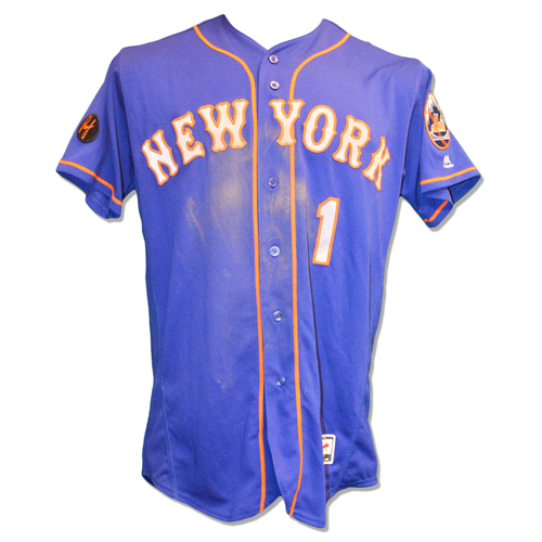 Photo of Amed Rosario #1 - Game Used Blue Alt. Road Jersey - 3-4, 2 Stolen Bases - Mets vs. Phillies - 9/19/18