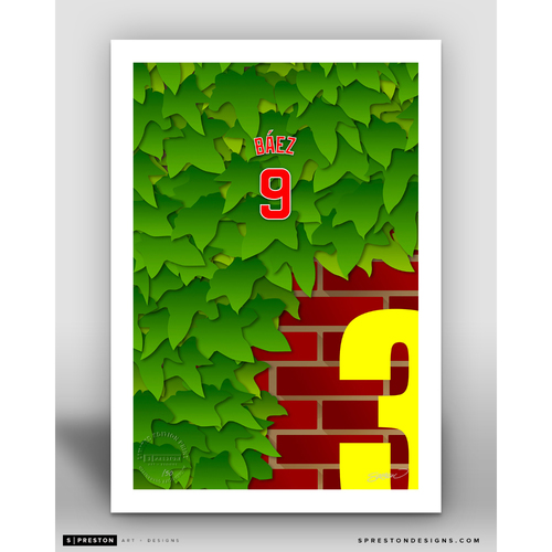 Photo of Minimalist Wrigley Field Javier Baez Player Series Art Print by S. Preston - Limited Edition