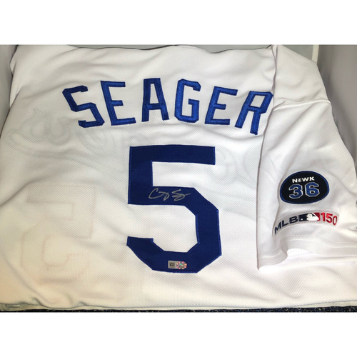 Photo of Corey Seager Authentic Autographed Los Angeles Dodgers Jersey - Newcombe Patch