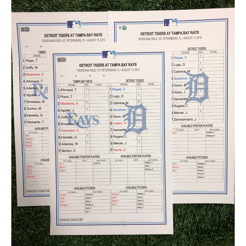 Replica LineUp Cards: August 16-18, 2019 v DET - Rays set MLB Record 24 K's in Shutout Walk-Off Win