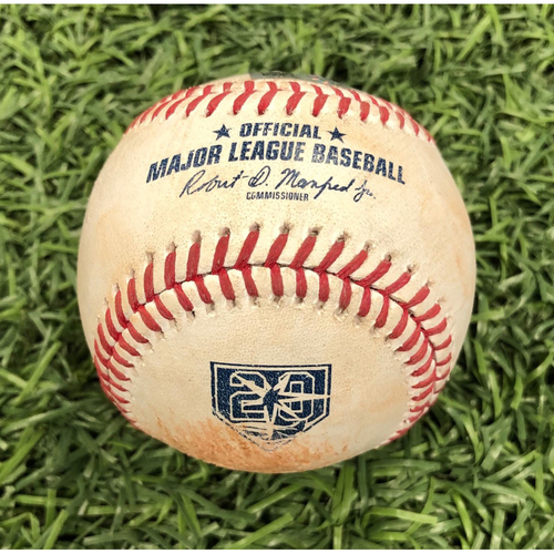 Photo of 20th Anniversary Game Used Baseball: Matt Duffy single & Daniel Robertson single off Andrew Heaney - August 2, 2018 v LAA