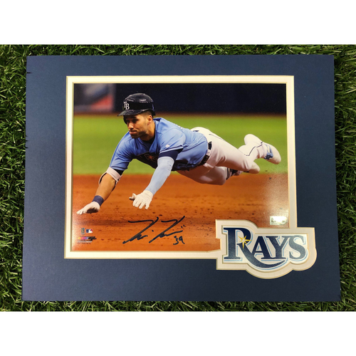 Photo of Rays Baseball Foundation: Kevin Kiermaier Sliding Autographed Logo Mat Photo