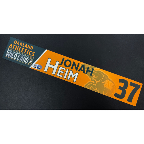 Photo of Game-Used 2020 AL Wild Card Locker Nameplate - Jonah Heim