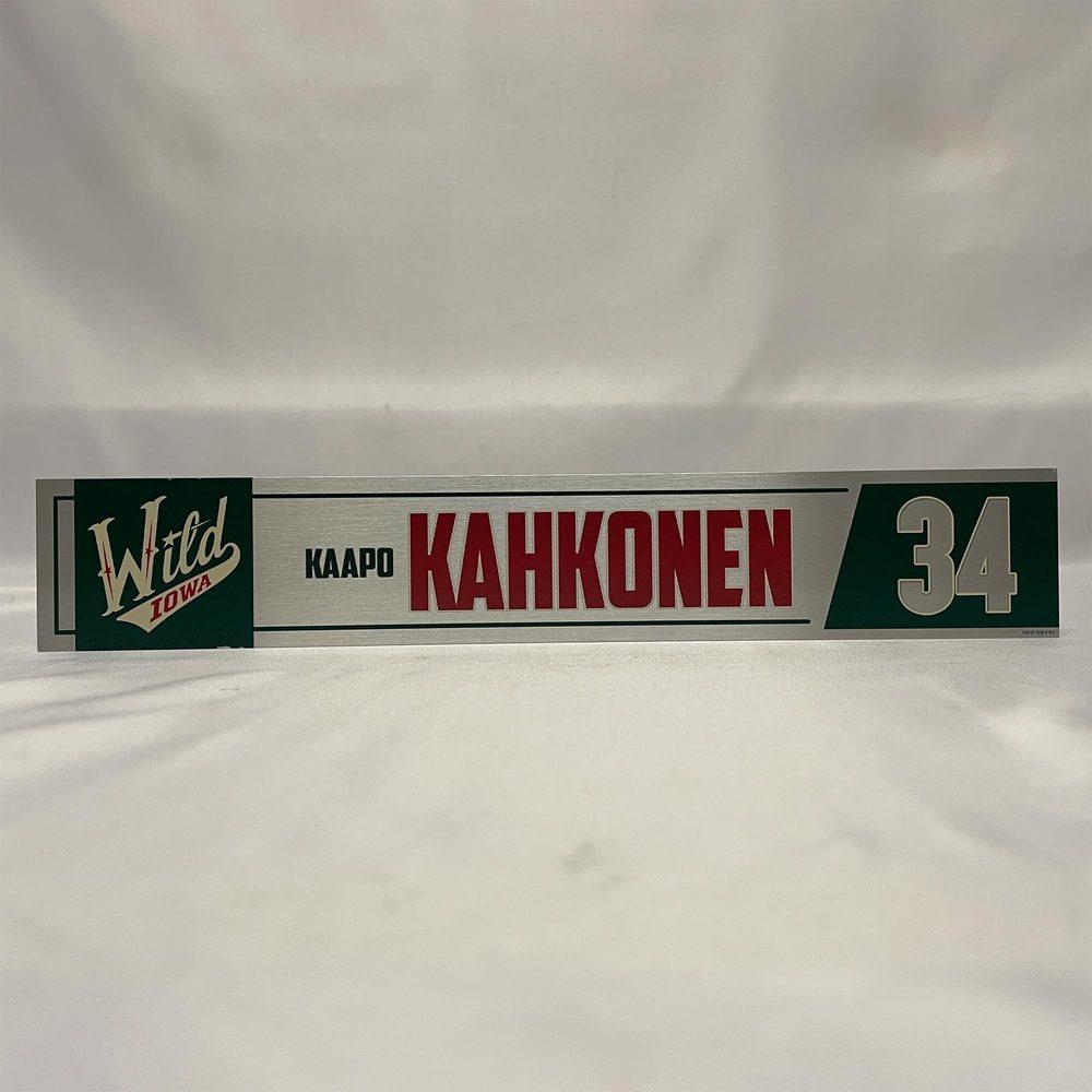 2020-21 Iowa Wild Locker Room Nameplate - #34 Kaapo Kahkonen