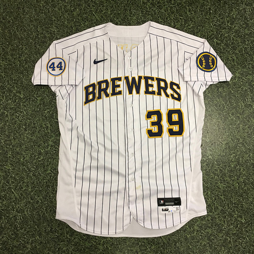 Photo of Corbin Burnes 06/06/21 Game-Used Home Pinstripe Jersey - 7.0 IP, 4 H, 0 R, 0 BB, 13 SO, Win (Career High Strikeouts Game)