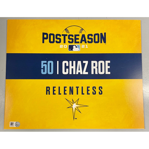 Photo of Team Issued ALDS Locker Tag: Chaz Roe - Game 1 - October 7, 2021 v BOS