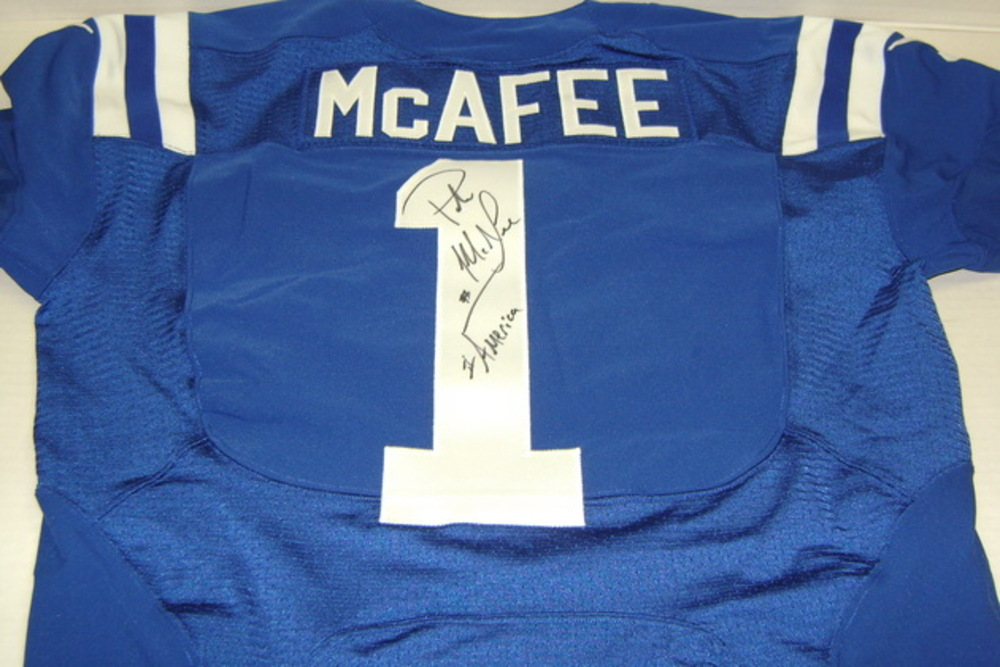 957599ad9bd BCA - COLTS PAT MCAFEE GAME WORN AND SIGNED COLTS JERSEY - WASHED BY  EQUIPMENT MANAGER
