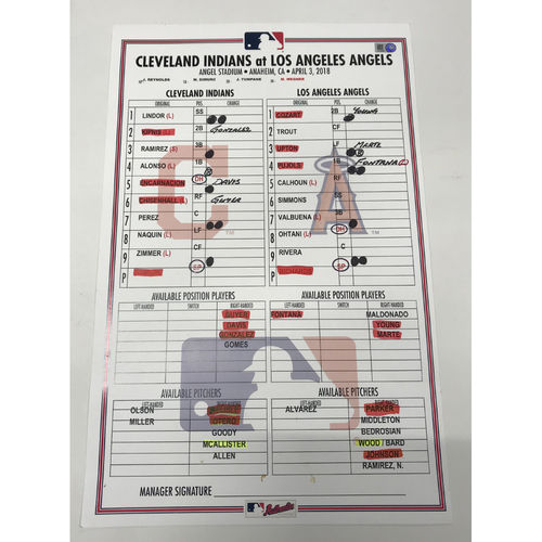 Photo of Game-Used Line Up Card 4/3/18 vs. Los Angeles Angels OHTANI