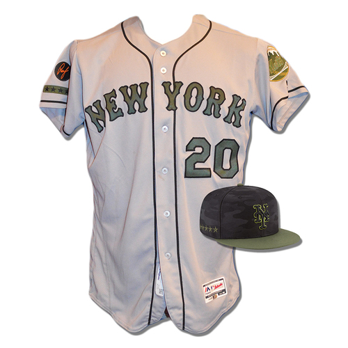 Photo of Ruben Amaro #20 - Game Used Road Grey Memorial Day Jersey and Hat - Mets vs. Braves - 5/28/18