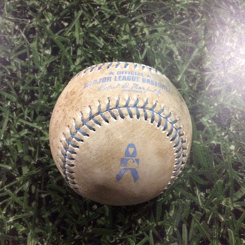 Photo of Game-Used Baseball SD@MIL  06/18/17 - Jimmy Nelson - Corey Spangenberg: Ball