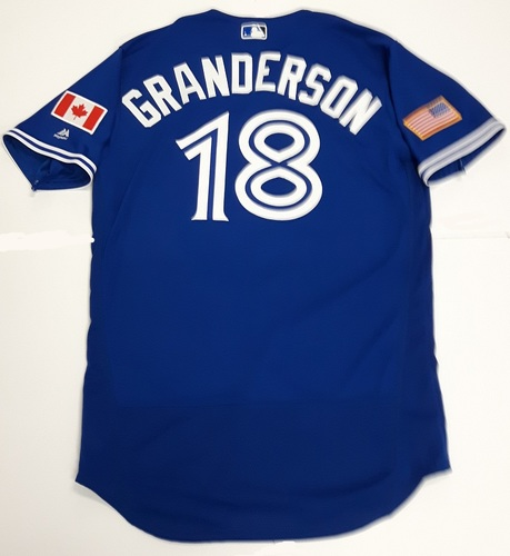 Photo of Authenticated Game Used 2018 Independence Day Jersey (July 4, 2018) - #18 Curtis Granderson: 0-for-5. Size 46.