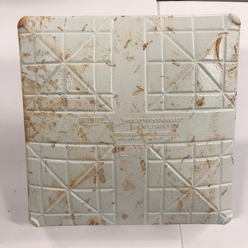 Photo of Game Used Base from Ronald Acuna Jr. Home Debut - 5/4/18 - First Base Used during 7th Inning - Used for Acuna at-bat and Crawford Home Run - 2018 NL Rookie of the Year