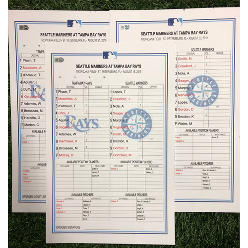 Photo of Replica LineUp Cards: August 19-21, 2019 v SEA