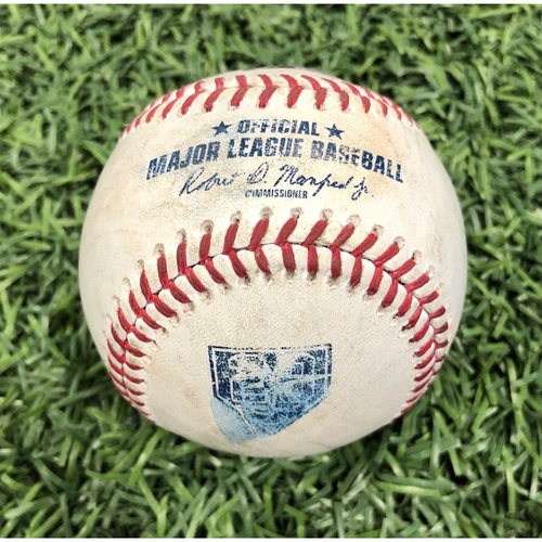Photo of 20th Anniversary Game Used Baseball: Brett Phillips strikeout & Alcides Escobar foul ball off Tyler Glasnow - August 23, 2018 v KC
